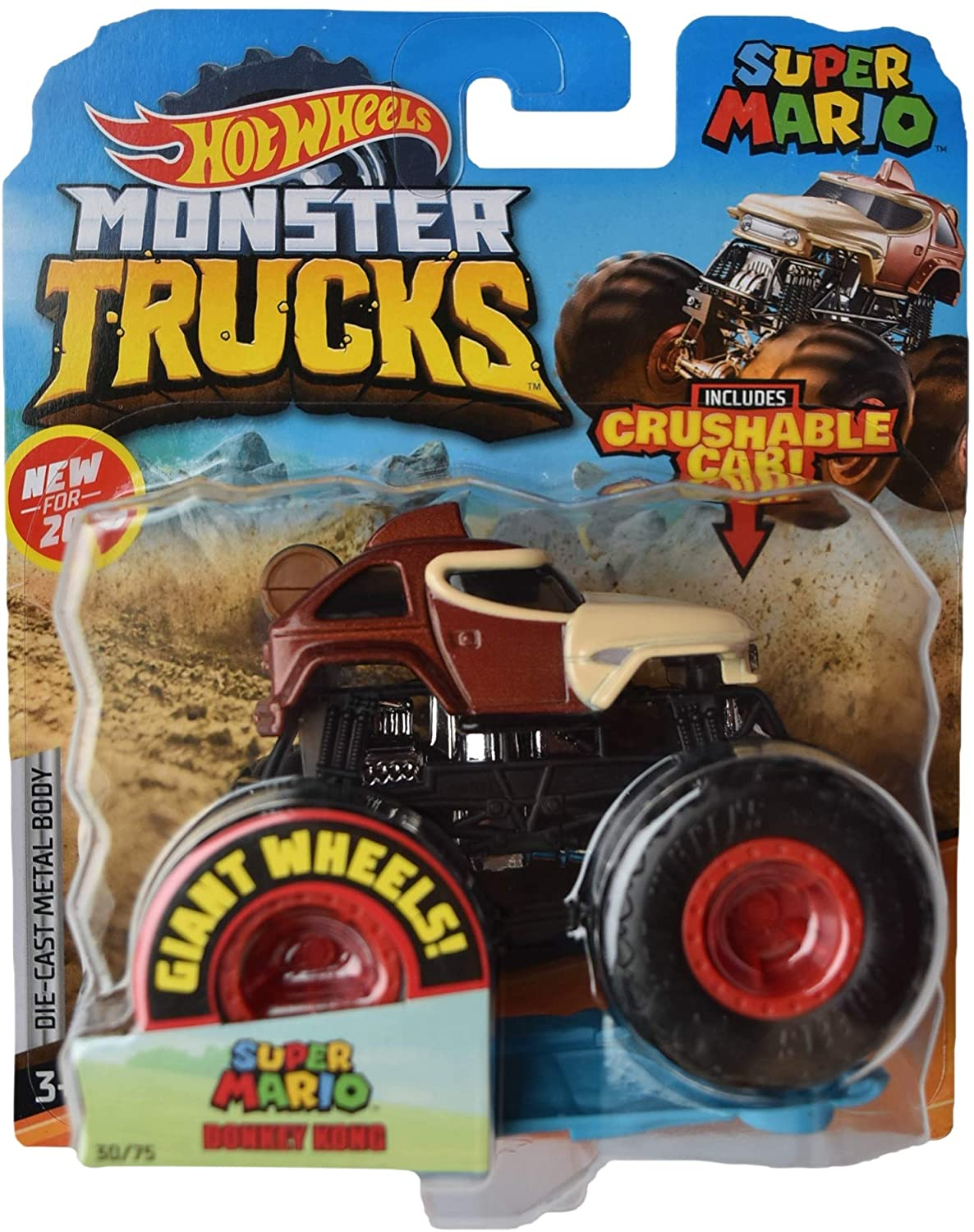 Hot Wheels Monster Trucks 1:64 Scale Super Mario Donkey Kong 30/75 Includes Crushable Car