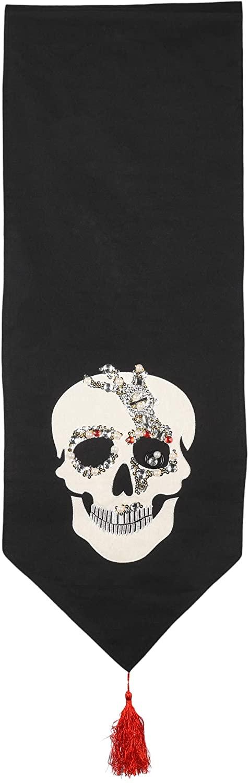 C&F Home Gothic Black Skull 13 x 72 Cotton Decorative Table Runner