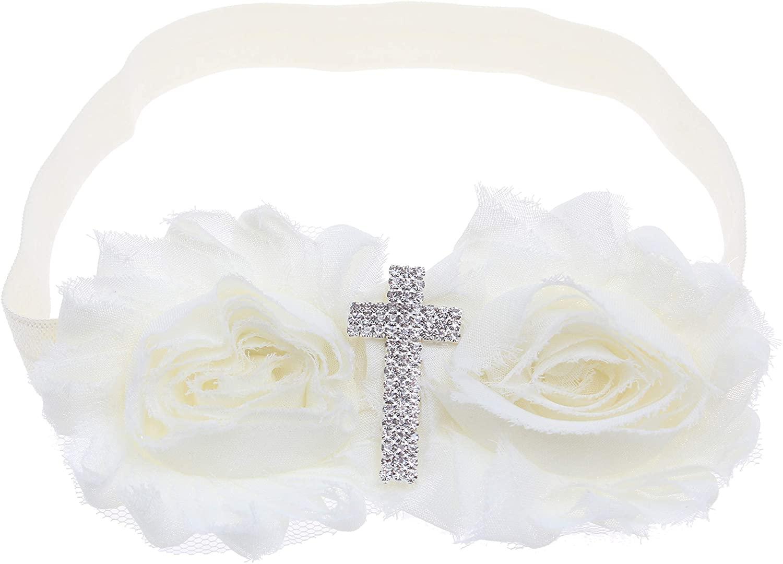 KEKEDA Baby Girl Baptism Headbands with Bows