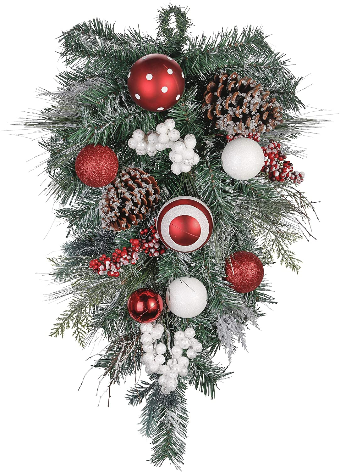 Valery Madelyn 24 inch Traditional Red White Artificial Christmas Teardrop Swag Door Swag Decoration with Berry,Pine Cone and Ball Ornaments for Indoor & Outdoor Home Decor
