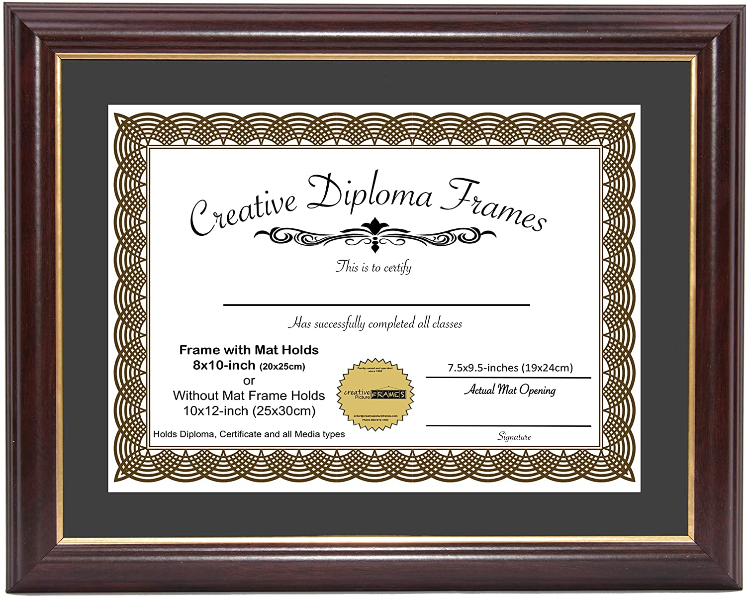 CreativePF [8x10-Diploma] Mahogany Frame with Gold Rim, Black Matting Holds 8x10-inch Documents with Glass and Installed Wall Hanger