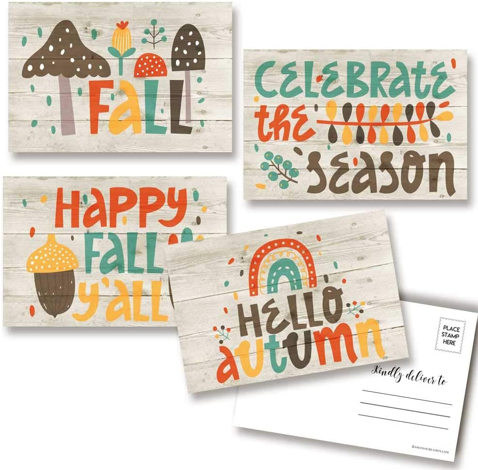 Happy Fall & Autumn Themed Blank Postcards To Send To Friends & Family, 4