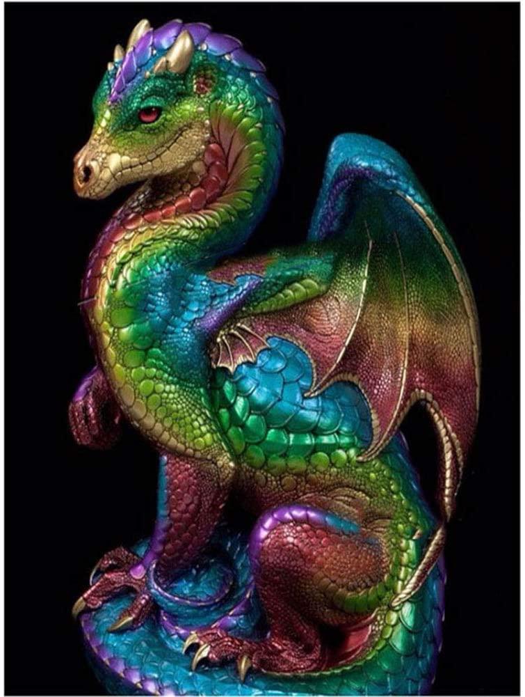 Dragon DIY 5D Diamond Painting, Full Drill Embroidery Cross Stitch Kit Home Decor (11.8X15.75 Inch)