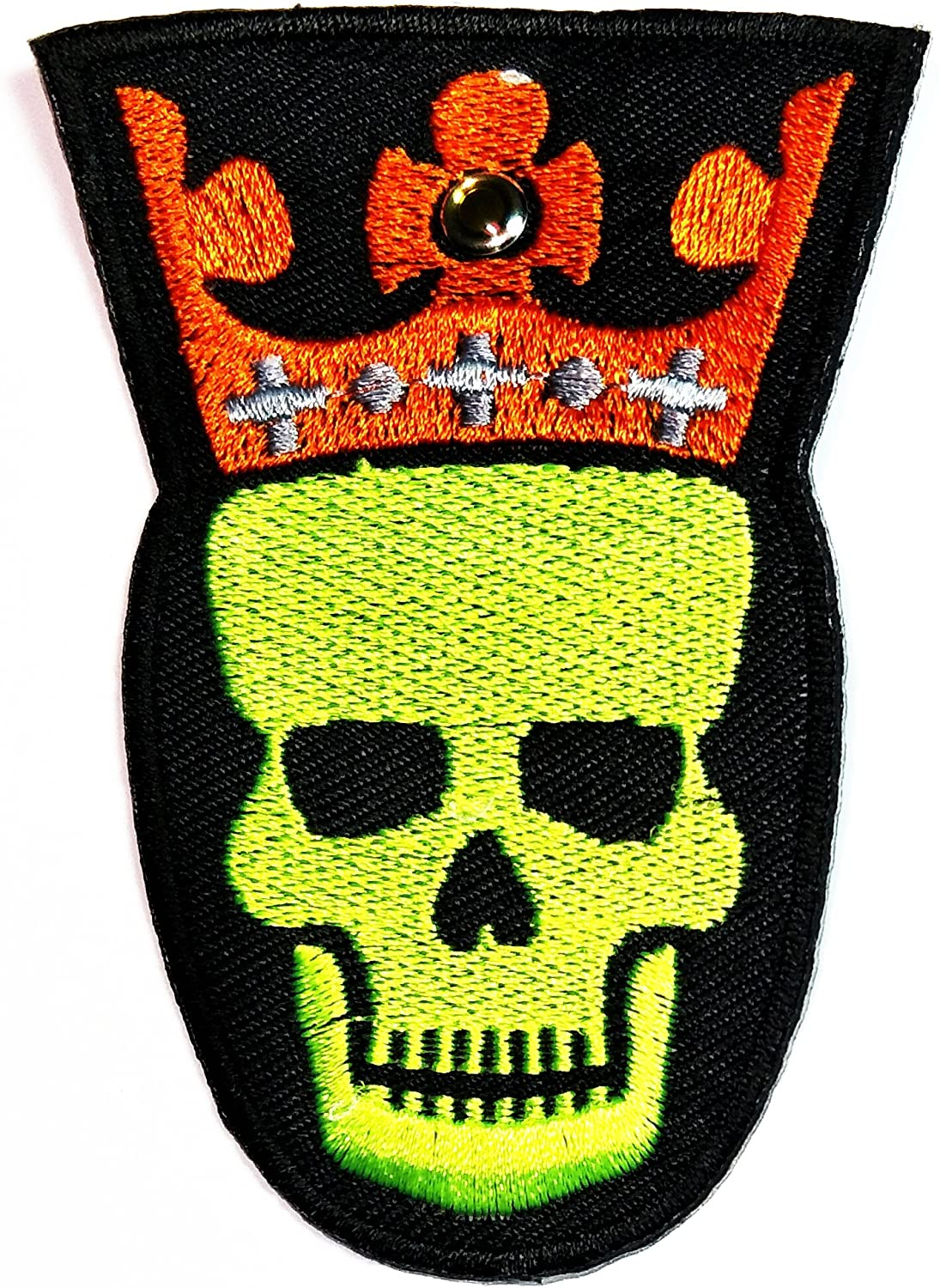 HHO Green Skull Patch DIY Applique Embroidered Sew Iron on Patch Skull logo Halloween Iron On Patch Sew Iron on Kids Craft Patch for Bags Jackets Jeans Clothes