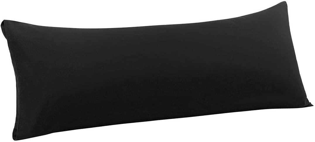 PiccoCasa Body Pillow Case, Luxury 1800 Microfiber Black Pillowcases No Zipper, Soft Full Body Pillow Covers for Long Pillows Body(20