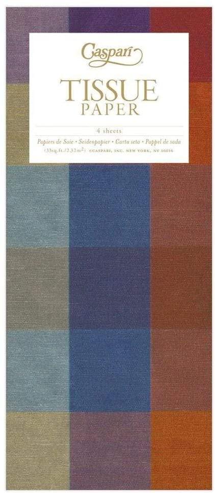 Caspari Thai Silk Tissue Paper in Blue & Brown, 8 Sheets Included