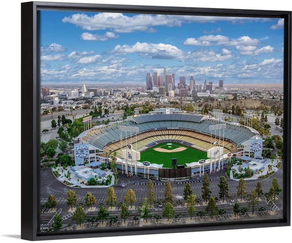 Los Angeles Dodger Stadium Black Float Frame Canvas Art, 22x18x1.75