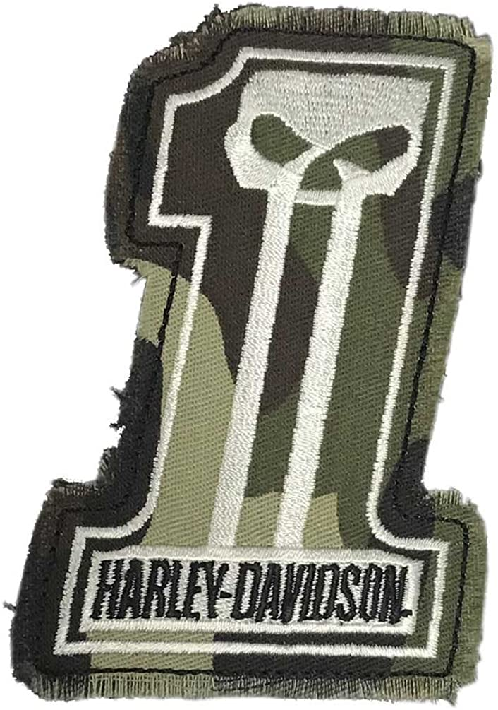 Harley-Davidson Dark Custom Camo #1 Skull Frayed Emblem Patch, 4 x 3 inches