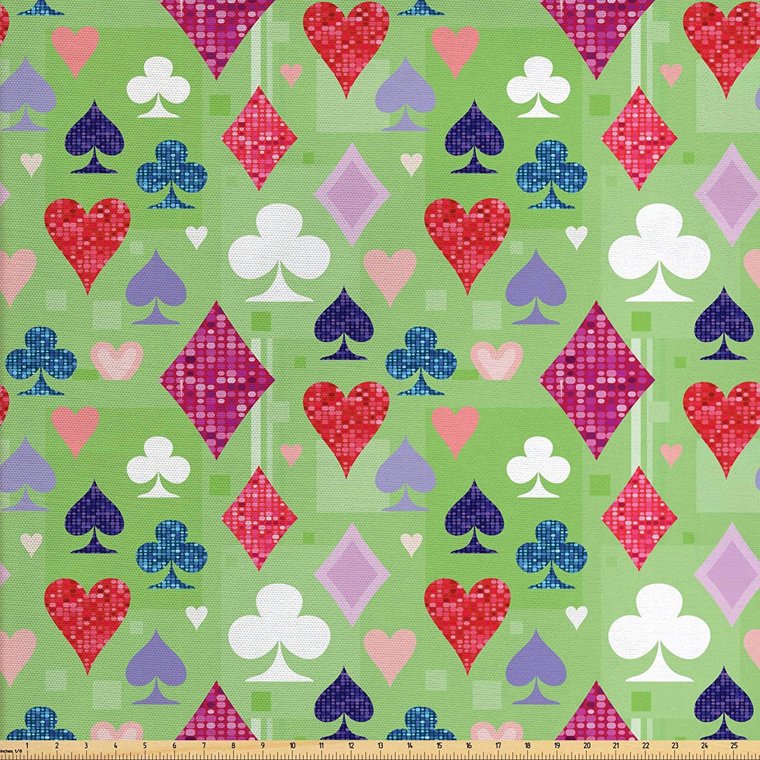 Lunarable Casino Fabric by The Yard, Vibrant Colored Differents of Playing Cards Poker Gamble Club Casino, Decorative Fabric for Upholstery and Home Accents, 2 Yards, Red Black