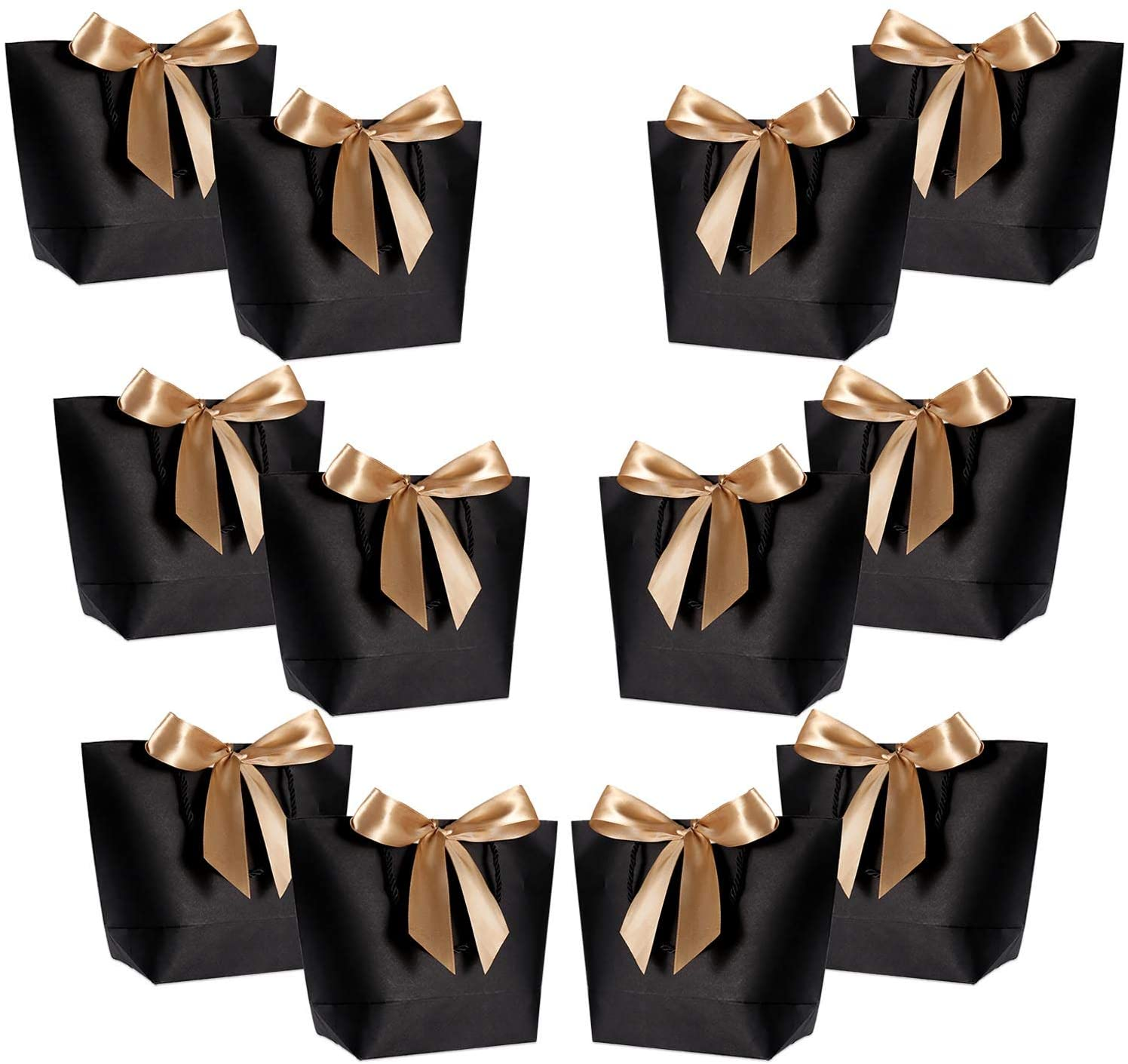 Gift Bags with Handles- WantGor 10x7.5x3inch Paper Party Favor Bag Bulk with Bow Ribbon for Birthday Wedding/Bridesmaid Celebration Present Classrooms Holiday(Matte Black, Medium- 12 Pack)