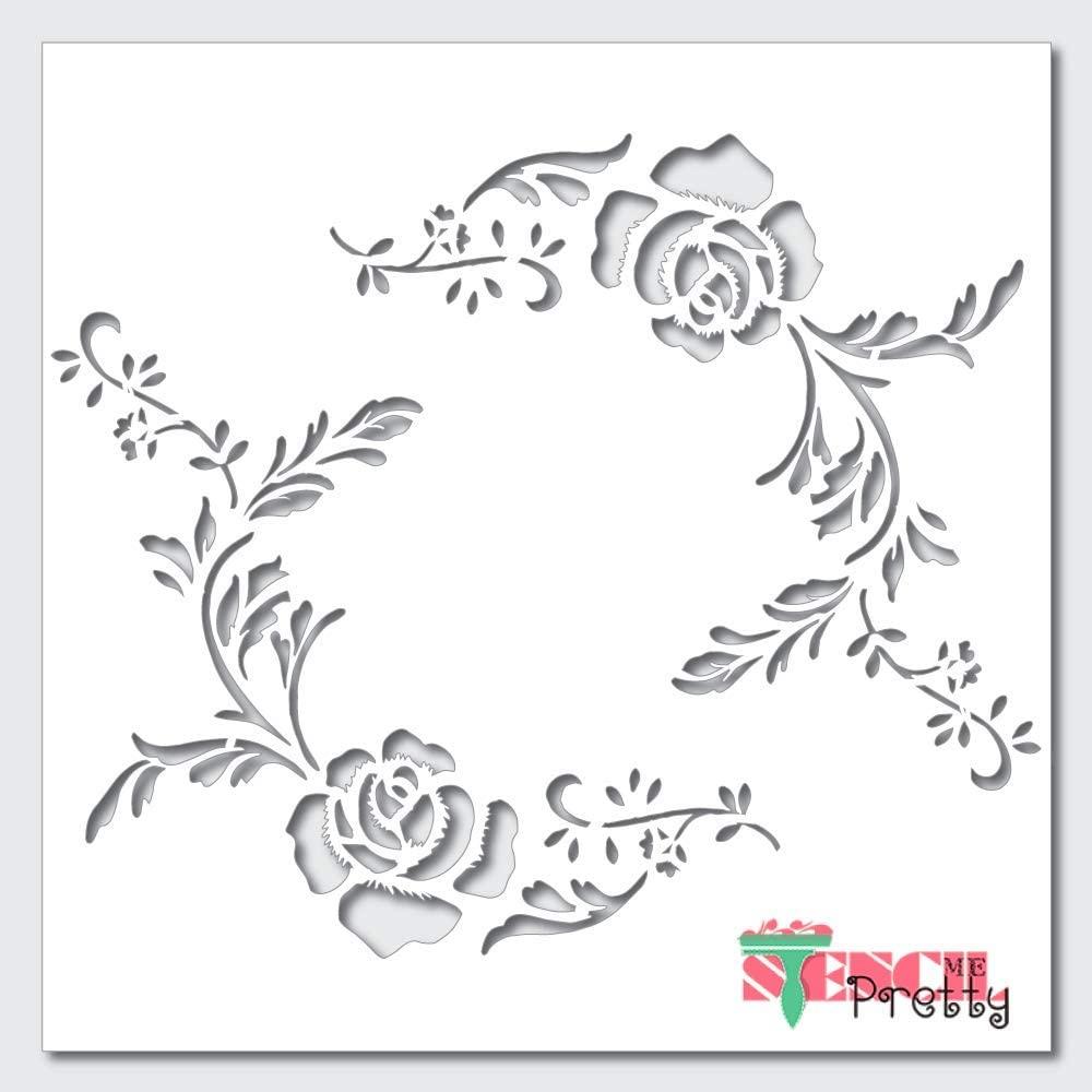 Vintage Flower Border Stencil-S (8