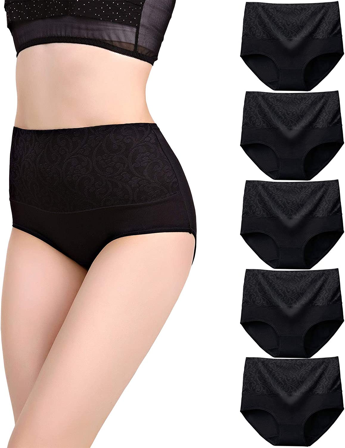YOULEHE Women's Cotton Underwear Briefs High Waist Full Coverage Soft Breathable Panties