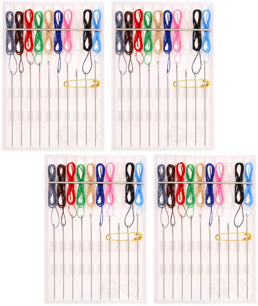 WXJ13 4 Boxes 40 Pieces Pre Threaded Needle Kit Ten Kinds of Lines with Pin Button Plastic Sewing Kit