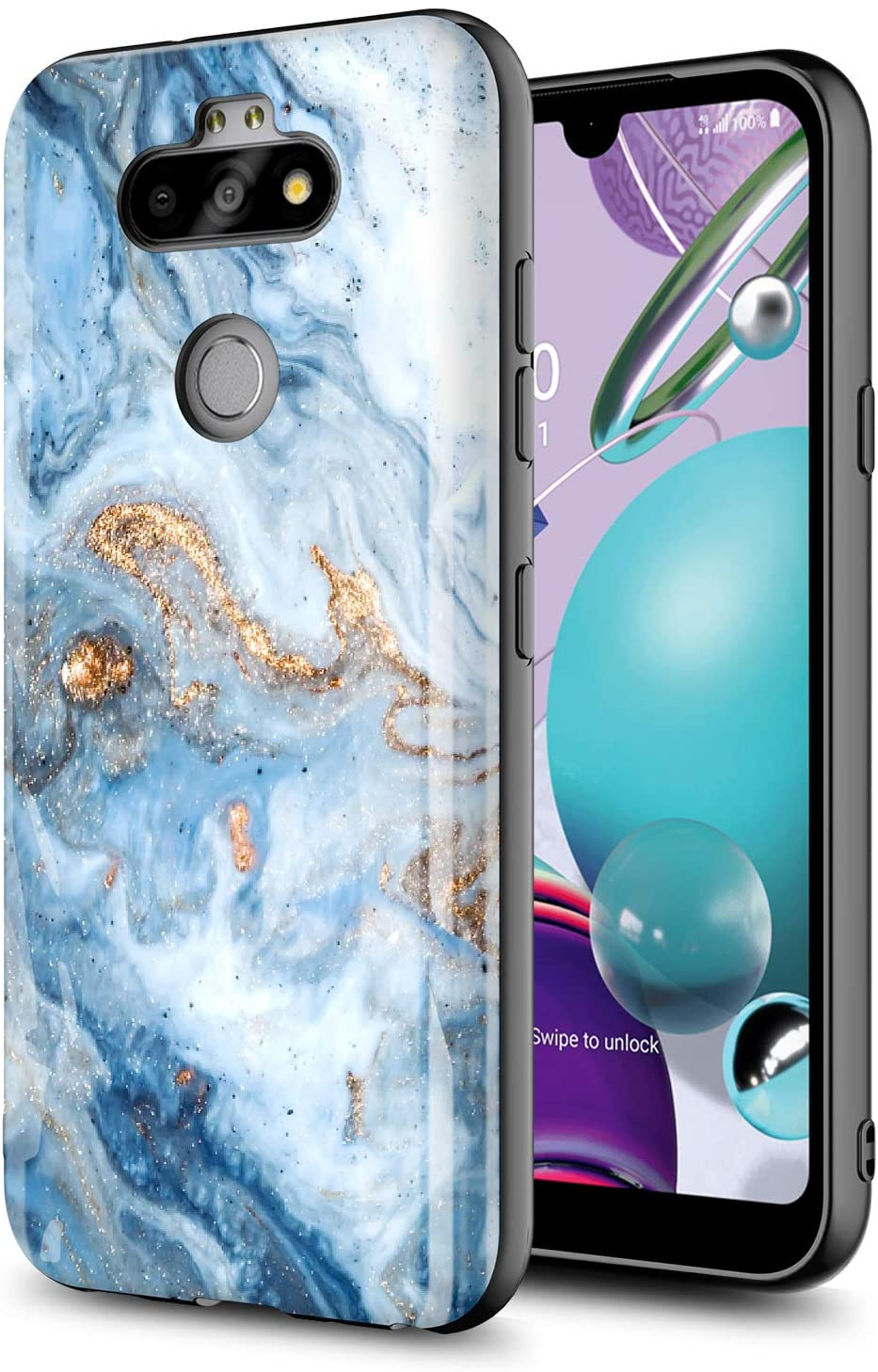GORGCASE Phone CASE for LG Aristo 5,Aristo 5 Plus,Fortune 3,Phoenix 5,Risio 4,K8X,K31,LG Tribute Monarch, Slim Anti-Scratch Hybrid PC TPU Armor Cute Man Girls Women Drop Protective Cover Blue Marble