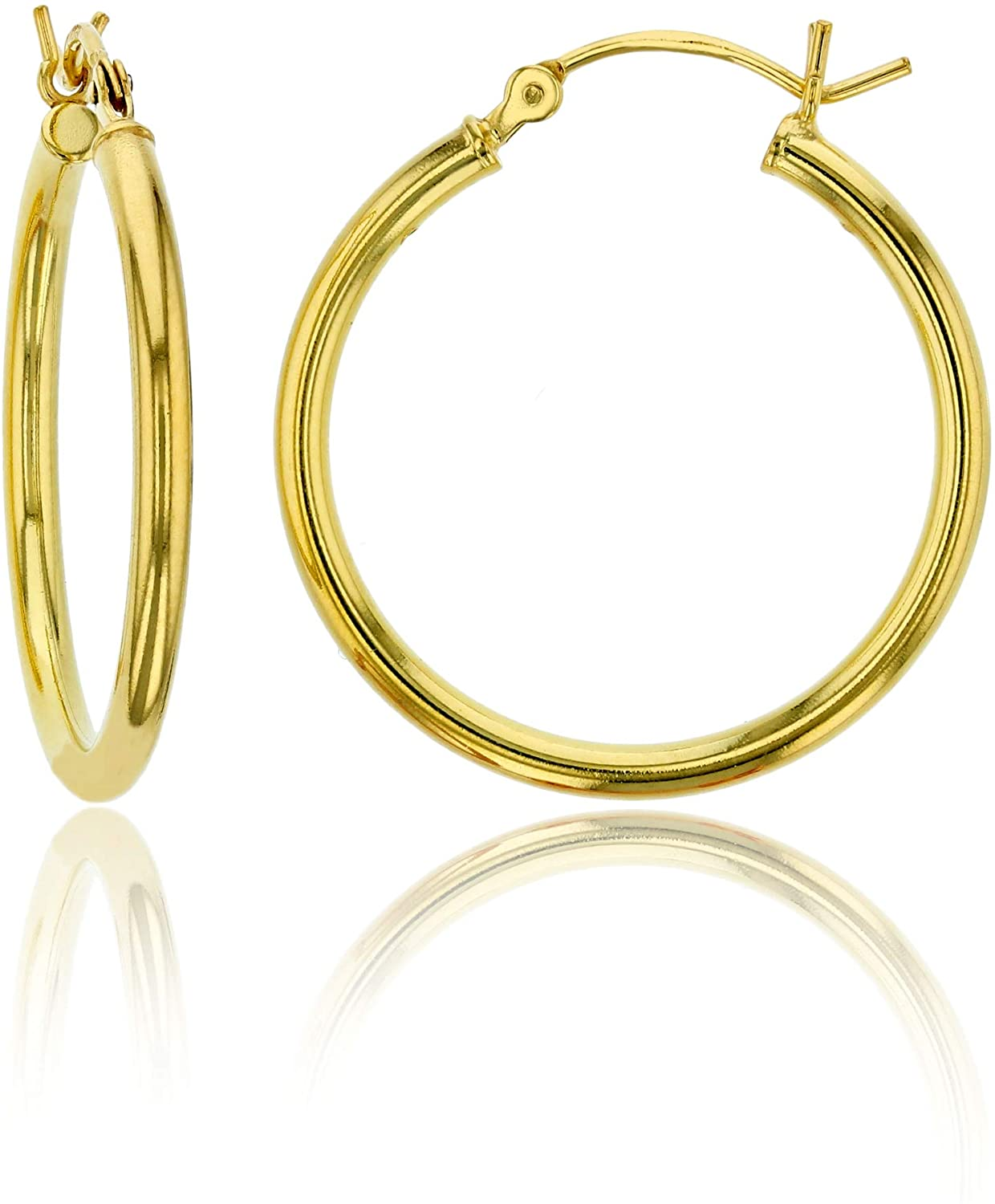 14K Gold Plated 925 Sterling Silver High Polished Hoop Earrings for Women | 1mm-4mm Thick Hoops | Secure Snap Bar Closure | Shiny Classic Earrings, 10mm-70mm