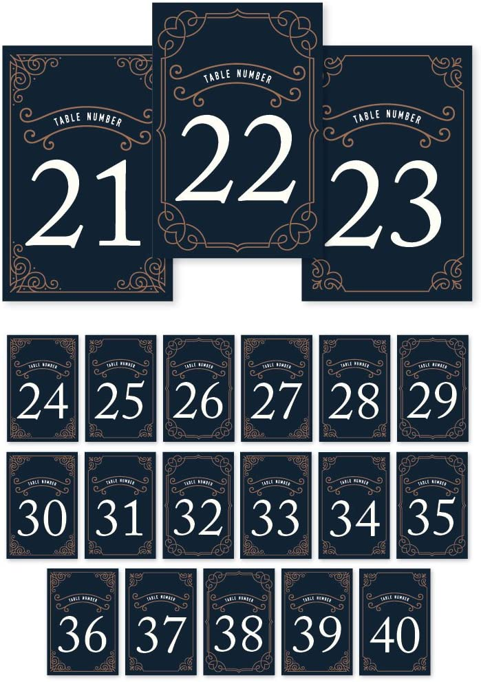 Andaz Press Navy Blue Art Deco Vintage Party Wedding Collection, Table Numbers 21-40 on Perforated Paper, Single-Sided, 4 x 6-inch, 1 Set