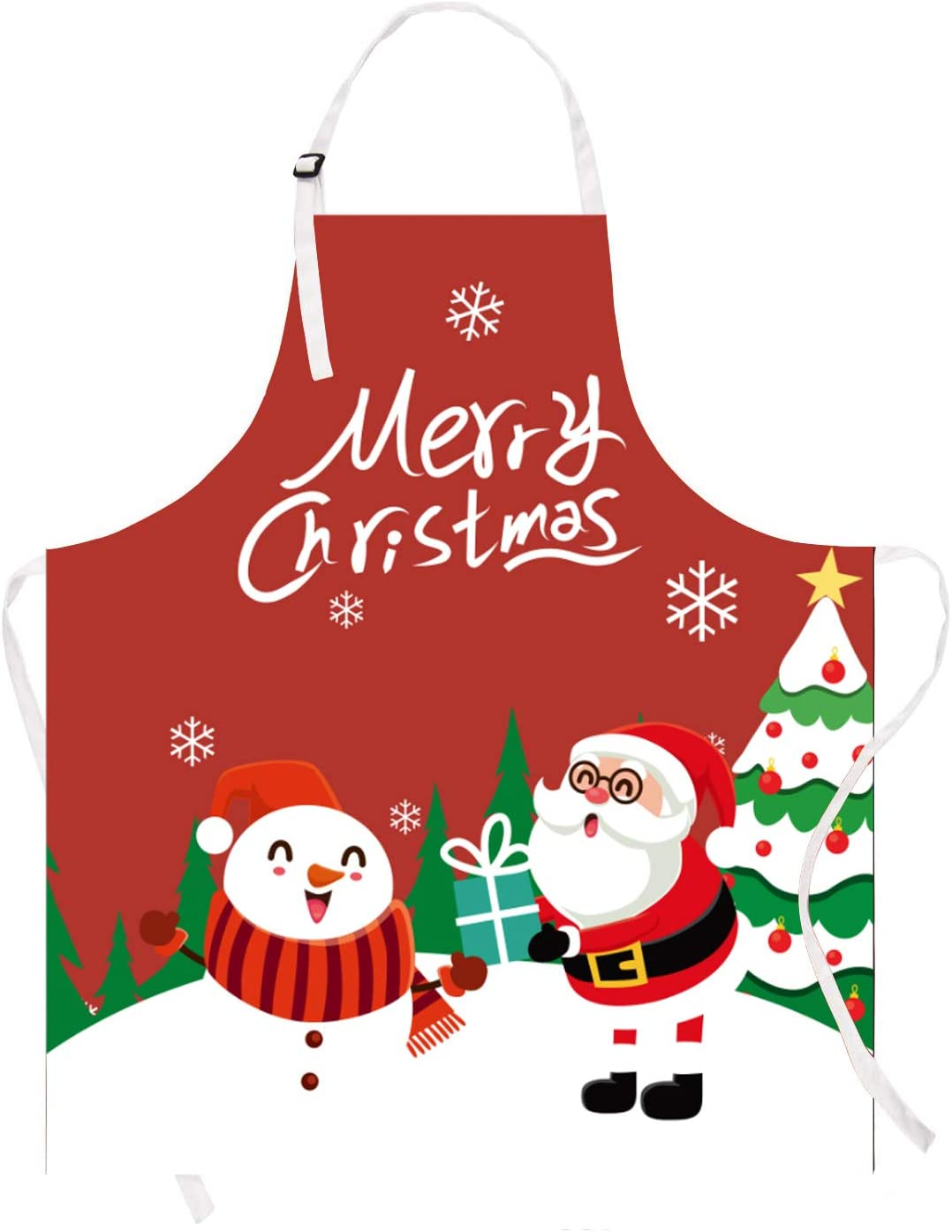 Claswcalor Merry Christmas Kids Apron, Cute Snowman Apron for Girls Boys Toddler Children, Red Waterproof Kitchen Apron for Kids Cooking, Baking, Crafting, Gardening, BBQ, 19.7