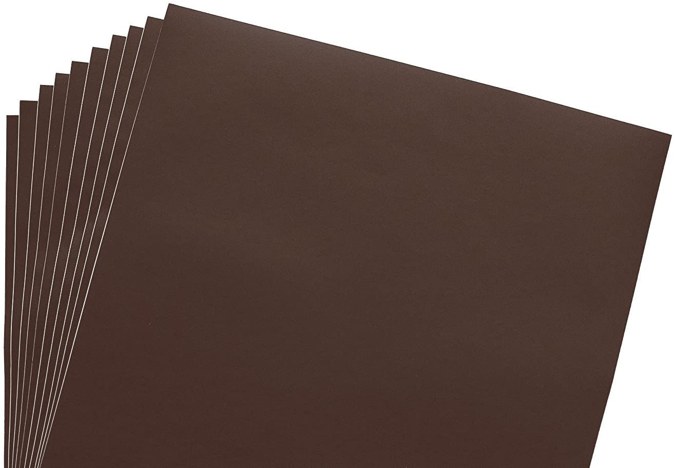 12x12 Permanent Vinyl, 10 Pack Brown Outdoor Adhesive Backed Craft Sheets in Matte Finish for Silhouette and Cricut to Make Monograms Stickers Decals and Signs by Scraft Artise