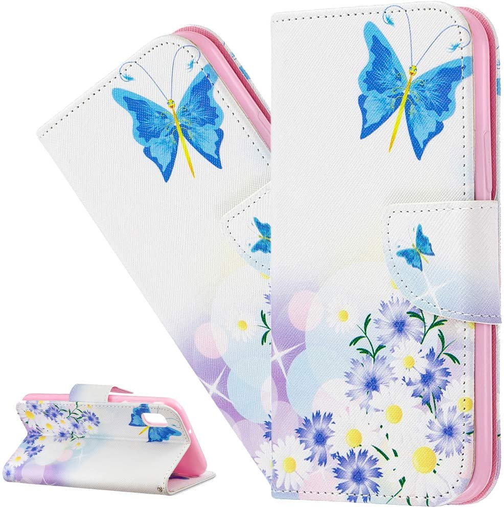 LEECOCO Galaxy A10 Case Fancy Printing Floral Wallet Case with Card Cash Holder Slots PU Leather Flip Kickstand Protective Slim Case Cover for Samsung Galaxy A10 / M10 Blue Butterflies & Daisy BF