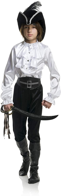 Child Boys White Premium Kids 2-Tier Ruffle Satin Pirate Shirt