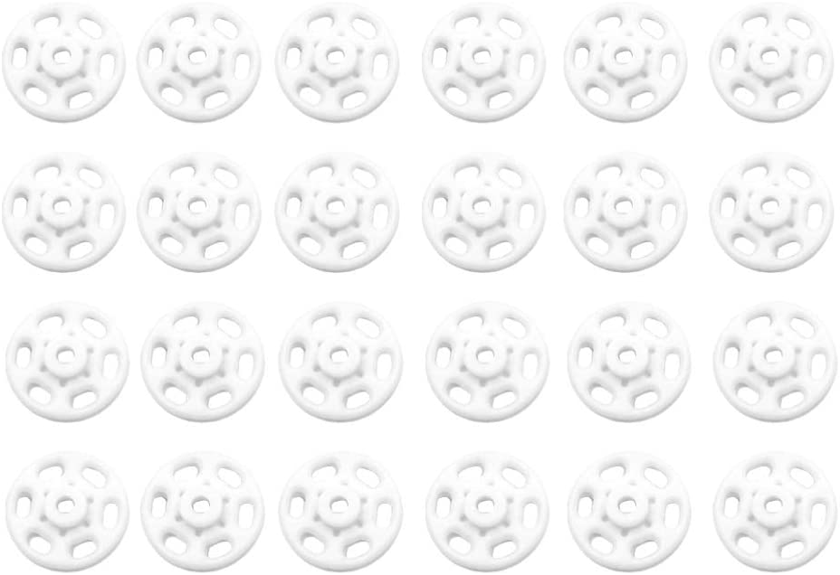 Milisten 500 Sets Plastic Snap Buttons Snap Fasteners Invisible Sewing On Snap Buttons Press Studs Buttons for DIY Craft Sewing Clothing Supplies 15MM (White)