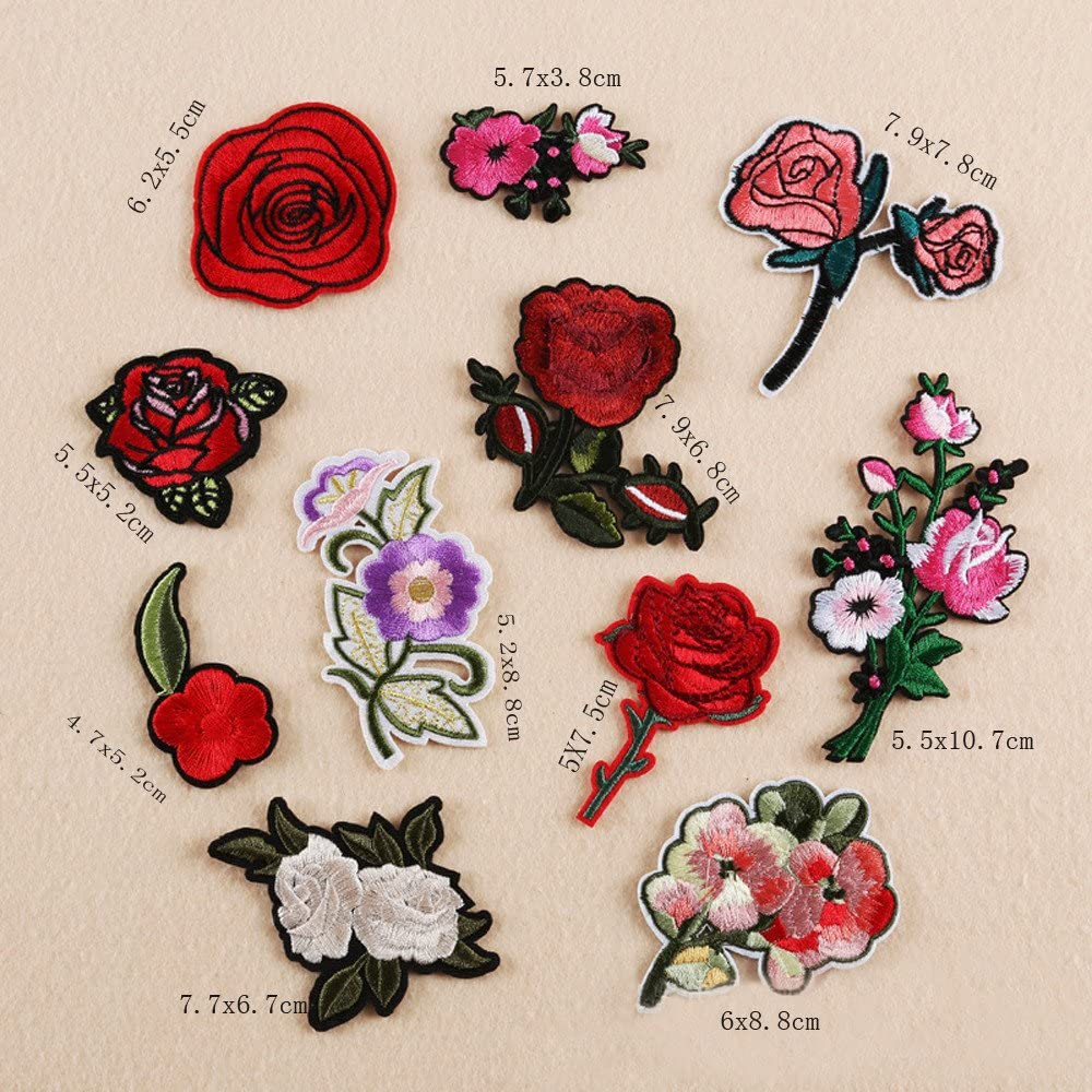 Fineday 11PC Rose and Flower Floral Collar Sew Patch Applique Badge Embroidered, Home Decors for Christmas New Year (Multicolor)