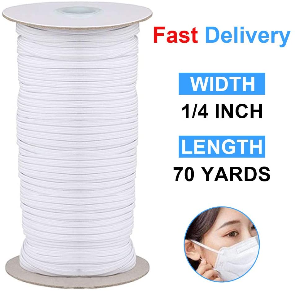 QQCASE Sewing Elastic Band Heavy Stretch High Elasticity Knit Elastic Spool for Sewing Tool/Sewing Waistband (1/4 Inch x 70 Yard)