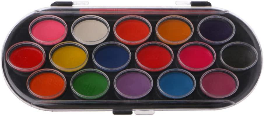 Y-YUNLONG 16Pcs Watercolor Palette Brush Set Painting Tray Craft Drawing Art Mini Kid Gift