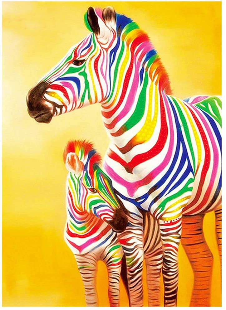 Pinto Diamond Painting Zebra Diamond Embroidery Paintings DIY 5D Diamond Painting Kits for Adults Diamond Art Kits for Adults Home Wall Decor