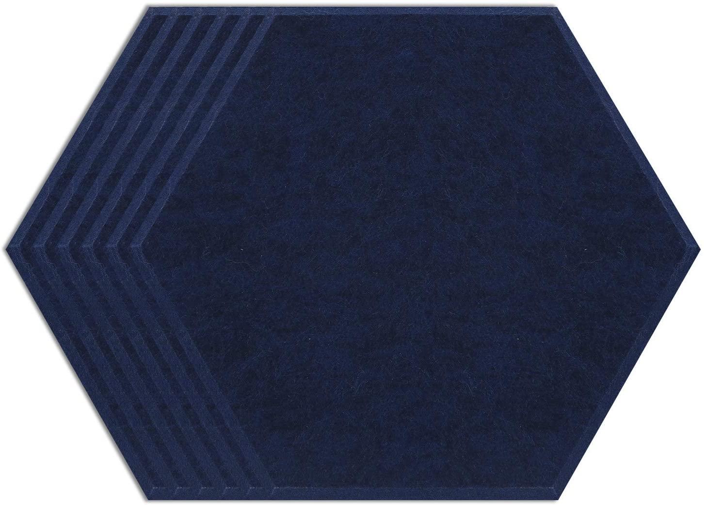 BUBOS Hexagon Acoustic Design:Art Acoustic Panels,Ultra High Density 230kg/m3 Good for Acoustic Treatment,Beveled Edge Tiles for Echo Bass Insulation,6 Pcs (Length: 14