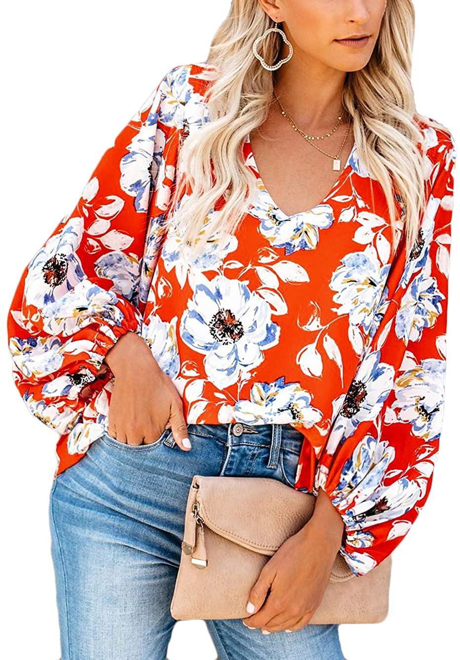 Kaei&Shi Floral Print Tops for Women,Bohemian Lantern Sleeve Blouse,Oversized Chiffon Shirt