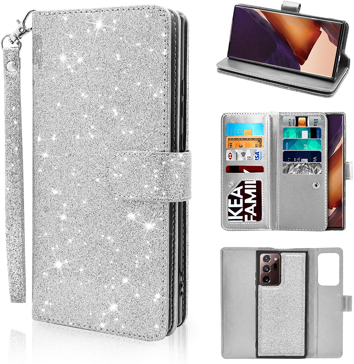 Newseego Compatible Samsung Galaxy Note 20 Ultra Leather Case, Glitter Faux PU Leather Magnetic Closure Multi-Credit Card Slot Cash Holder Detachable 2 in 1 Wallet Cover with Wrist Strap- Silver