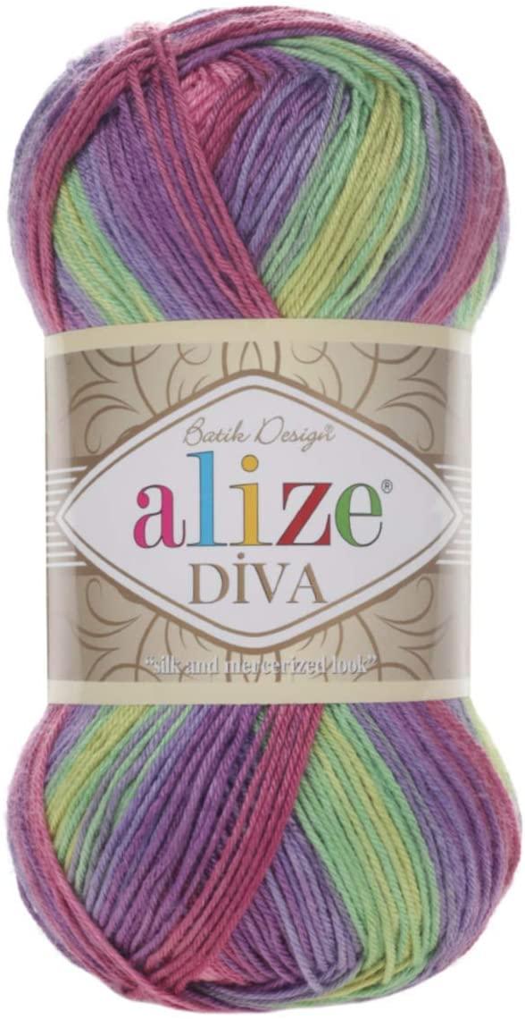 100% Microfiber Yarn Alize Diva Batik Silk Effect Thread Crochet Hand Knitting Turkish Yarn Art Lot of 4skn 400g 1532yd Color Gradient (3241)