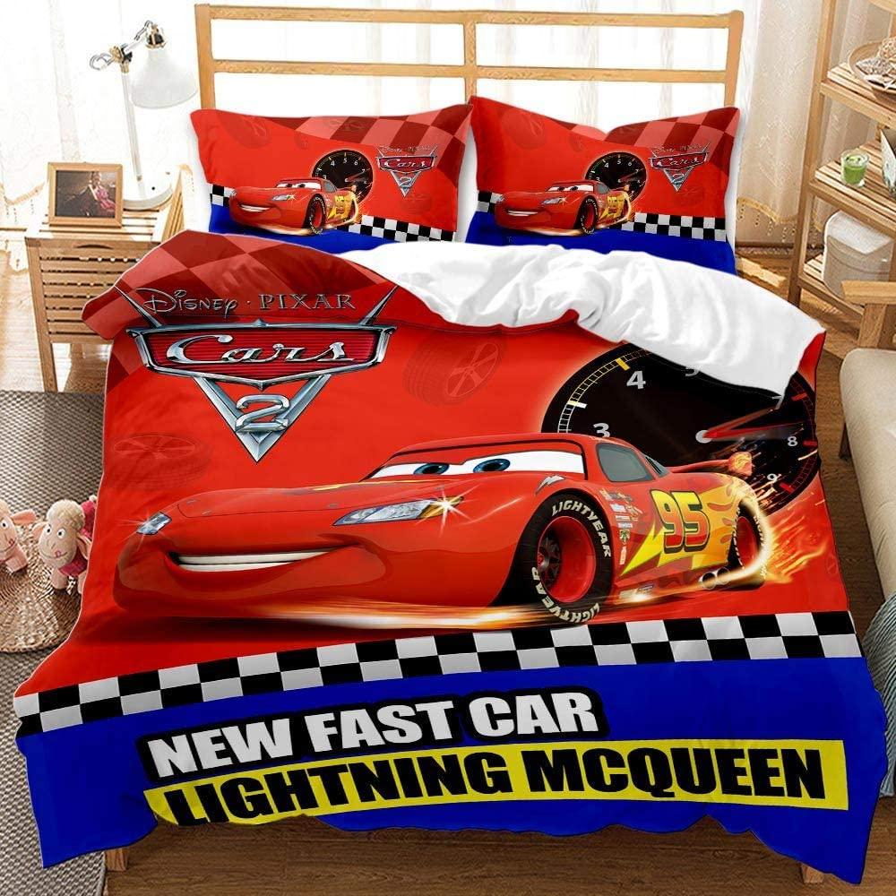 Yumhi Lightning McQueen Duvet Cover Set for Boys Kids Red Comforter Cover Racing Car Bedding Set King Size 3PCS(1 Duvet Cover+2 Pillowcase)