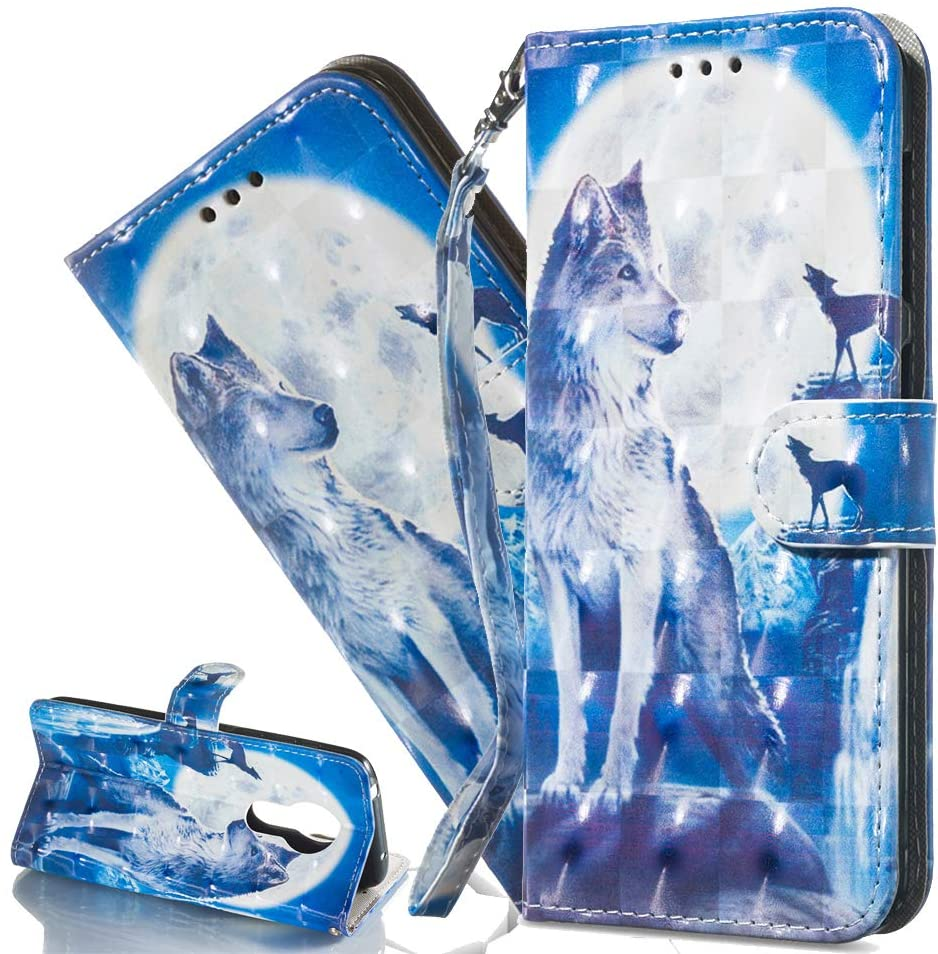 HMTECHUS Moto G7 Power Case 3D Moon Wolf PU Leather Wallet Flip Card Slots Holder Kickstand Bookstyle Magnetic Clasp Protection Cover for Motorola Moto G7 Power (US Model) Blue Moon Wolf KT