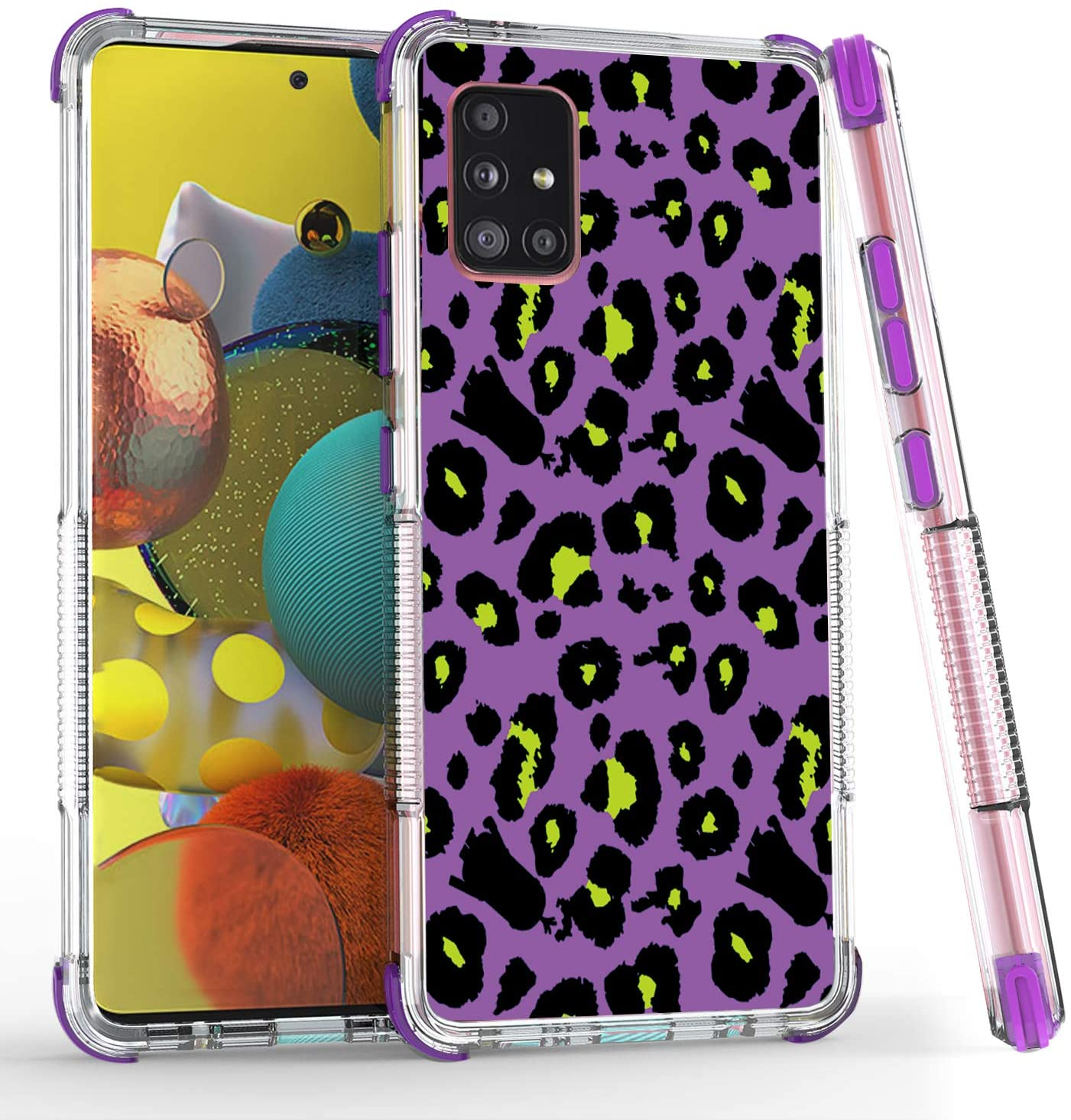 HUIQUAN for Samsung Galaxy A51 5G Phone Case, Hybrid Protective TPU Case, Shockproof Bumper Cover with Beautiful Design (Purple)