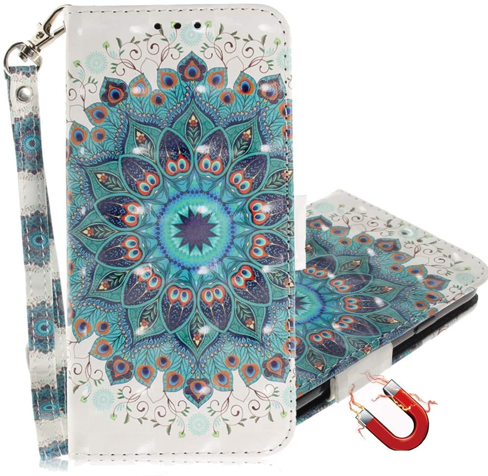 MRSTERUS Samsung M10 Case 3D Fashion Creative Cute Cover PU Leather Shockproof Flip Notebook Wallet Case Magnetic Bracket Card Slot Folio Bumper Case for Samsung A10 Peacock Wreath TX