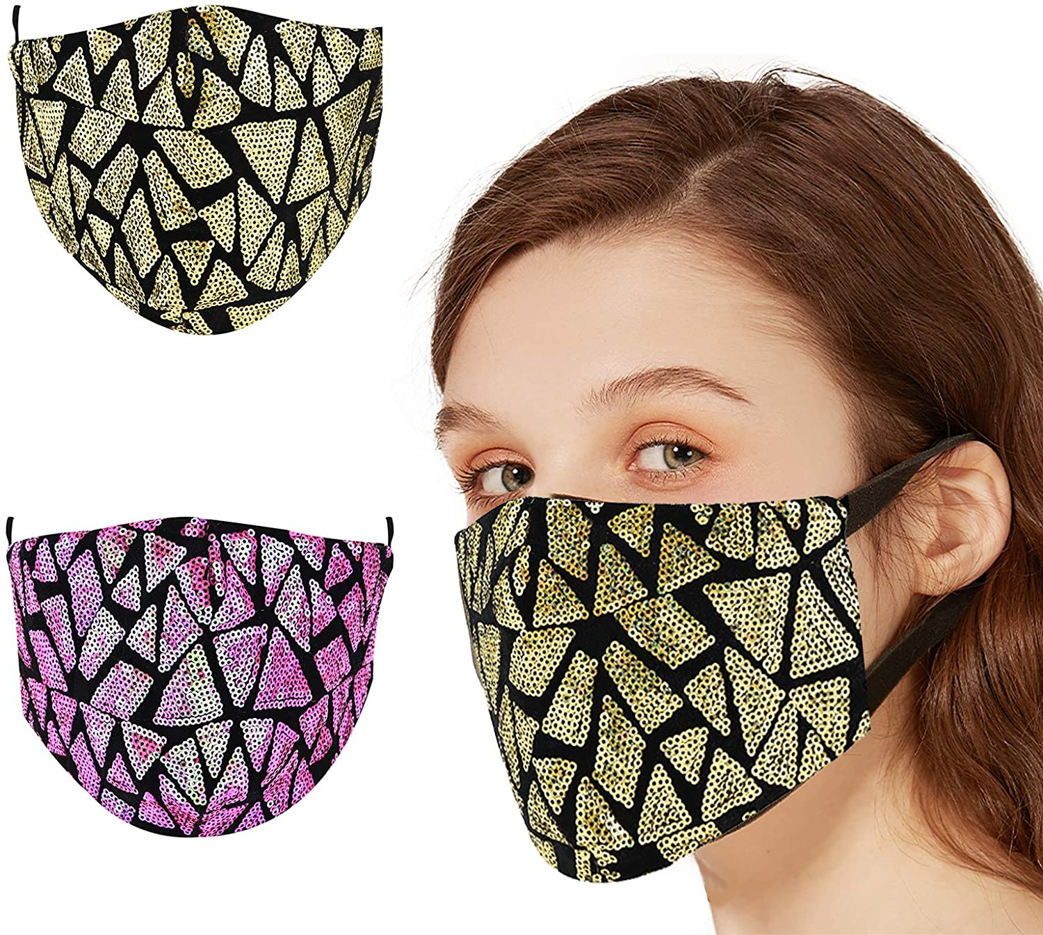 BAIJIE 2PCS Face Cloth Bling Mask with Adjustable Ear Loops Reusability for Men Women