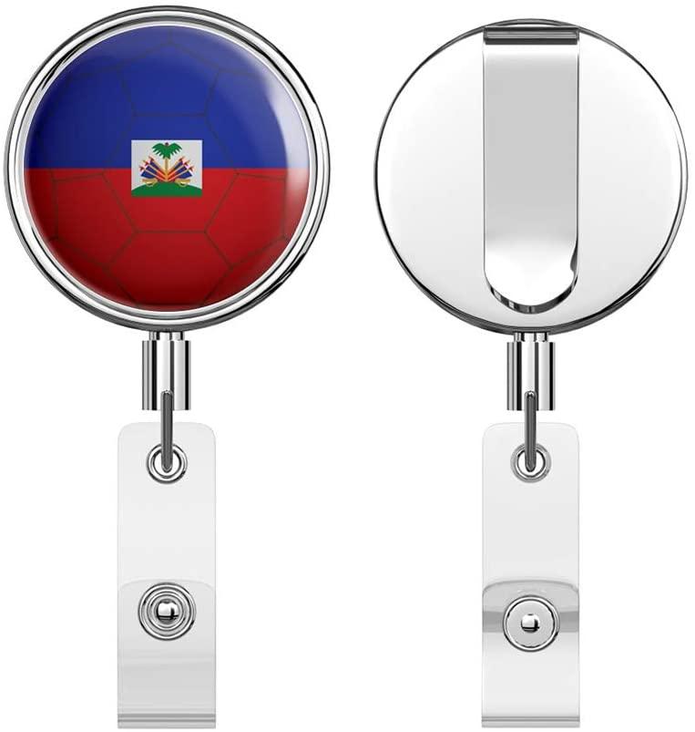 Haiti Flag Soccer Ball Retractable Reel Chrome Metal Badge ID Card Holder Clip