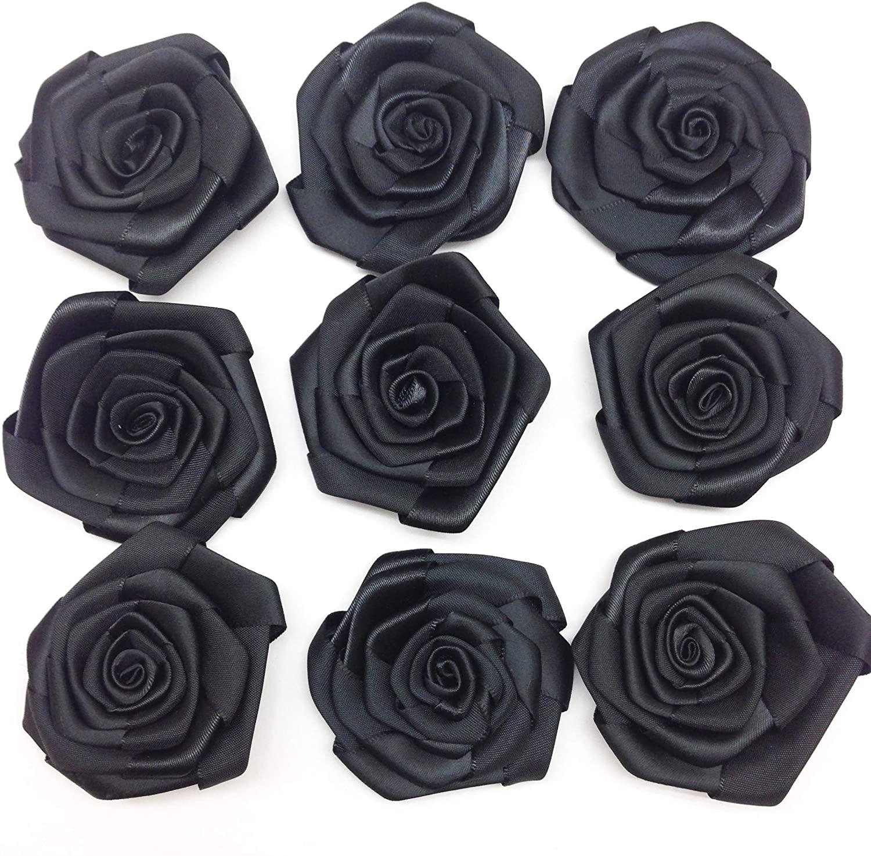 PEPPERLONELY 10PC Set Black Rosettes Satin Rose Fabric Flowers, 2.4 Inch