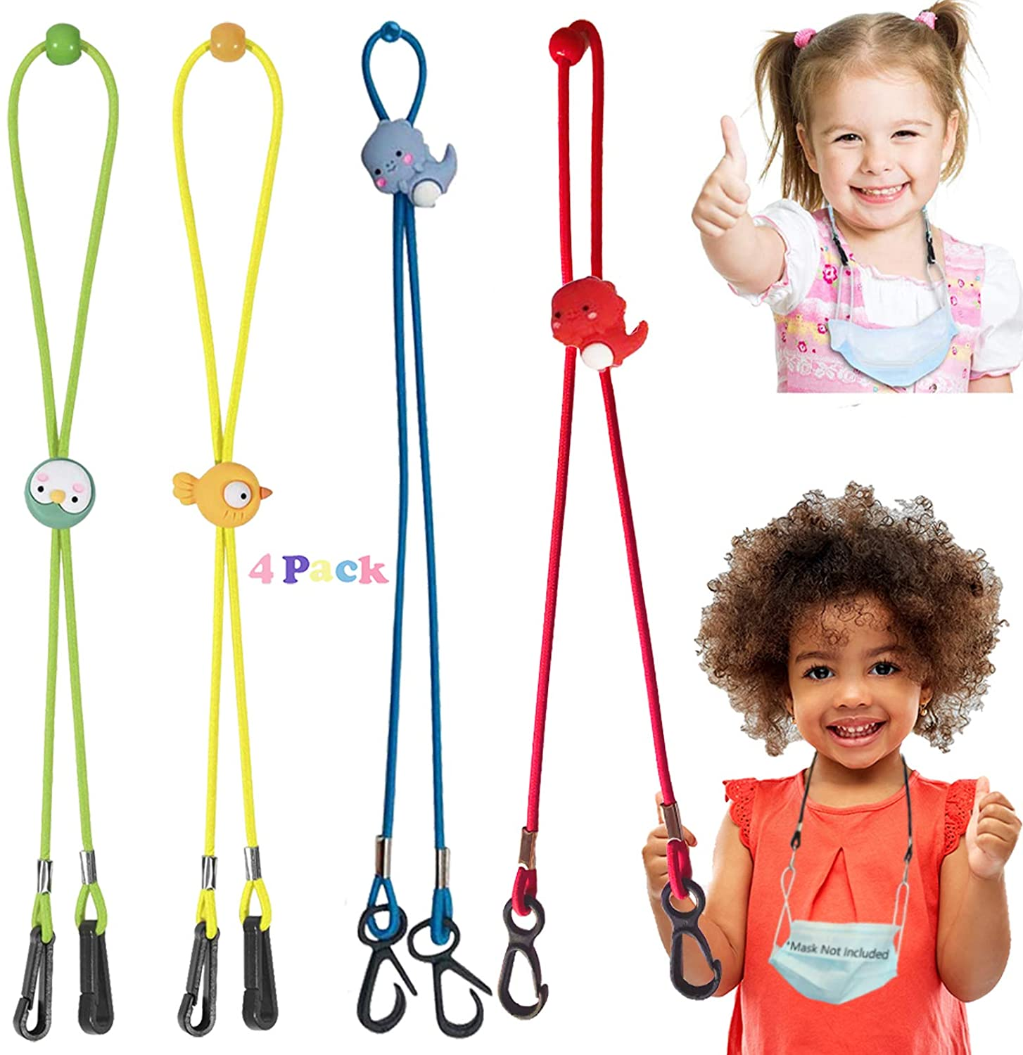 wellMaxlc Cute Face Mask Lanyards Adjustable Lanyard Straps Mask Straps for Kids Adults Handy Comfortable Around The Neck Facemask Rest Relieve Ear Savers Holders Extender (4 PCS Multicolored Kids)