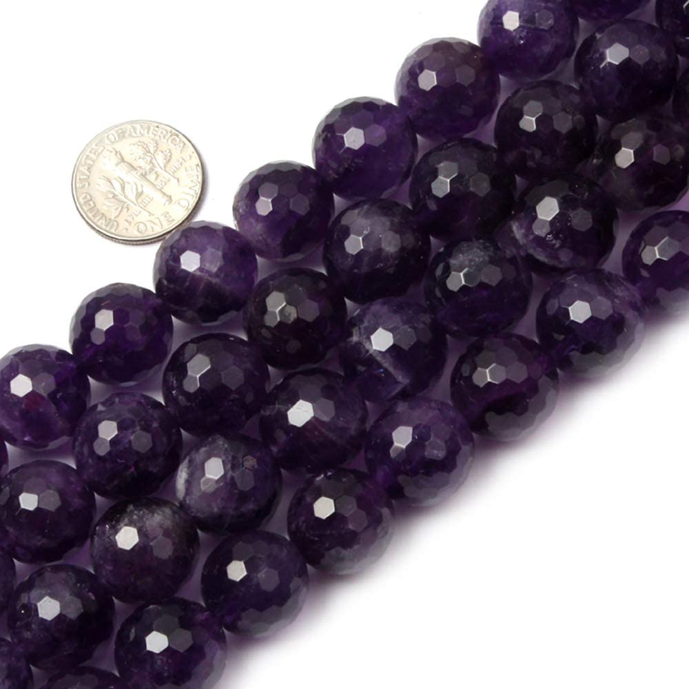 JOE FOREMAN Round Faceted Amethyst Beads for Jewelry Making Natural Semi Precious Gemstone 14mm Strand 15