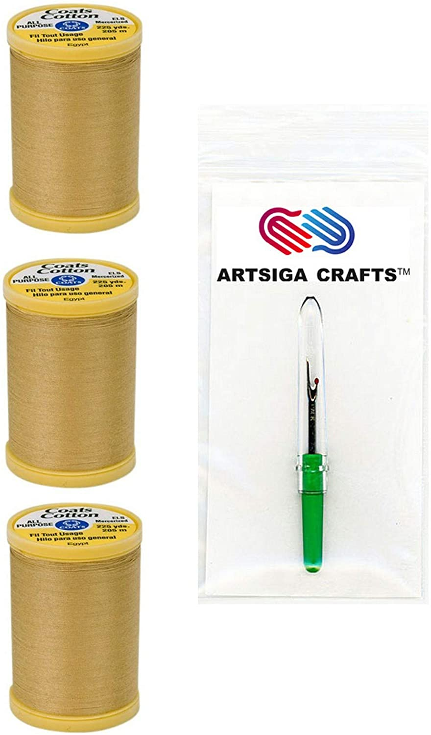 Coats & Clark Sewing Thread General Purpose Pure Egyptian Cotton Thread 225 Yards (3-Pack) Temple Gold Bundle with 1 Artsiga Crafts Seam Ripper S970-7450-3P