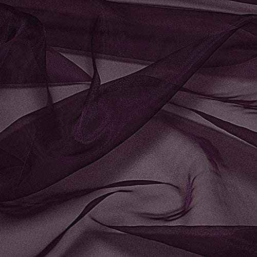 """VDS Organza Fabric 44"""" inches by The Yard for Wedding Décor Dress Fashion Crafts Decorations (Pack of 10 Plum)"""