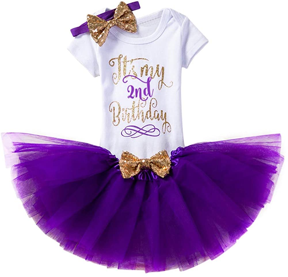 IZKIZF Newborn Girls It's My 1st/2nd Birthday Cake Smash Romper+Tutu Skirt +Sequins Bow Headband 3Pcs Outfits