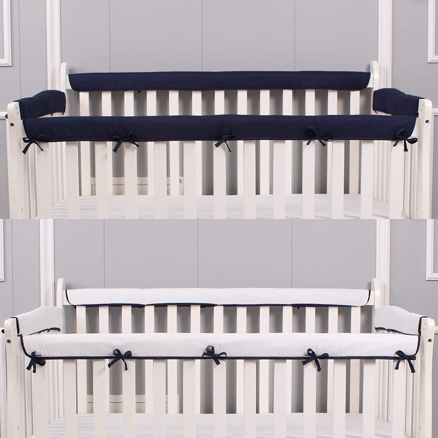 Belsden 4 Pack Safe Crib Rail Cover Set for Entire Crib Rails, Soft Padded Breathable Crib Teething Guard and Protector for Baby Boys Girls, Reversible Colors, Navy & White