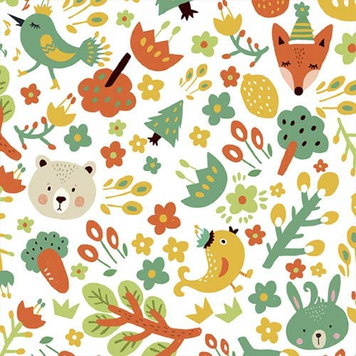 COTTONVILL 20COUNT Cotton Print Quilting Fabric (3yard, 05-09-Forest Friend-White)