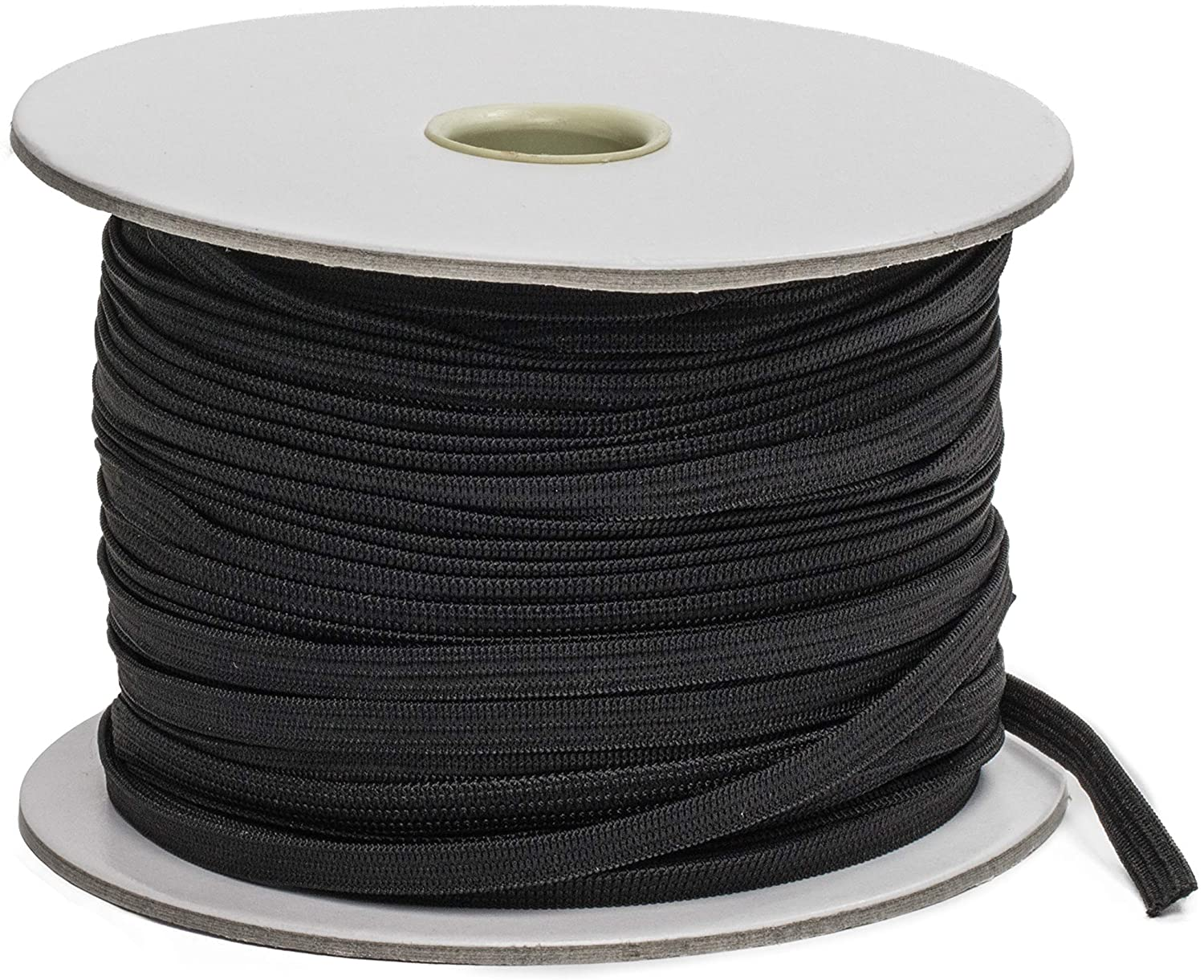 Elastic Strings for Masks - 100 Yards - 6mm 1/4 Inch Knitted Elastic Band for Sewing - Black Elastic Cord (Premium)