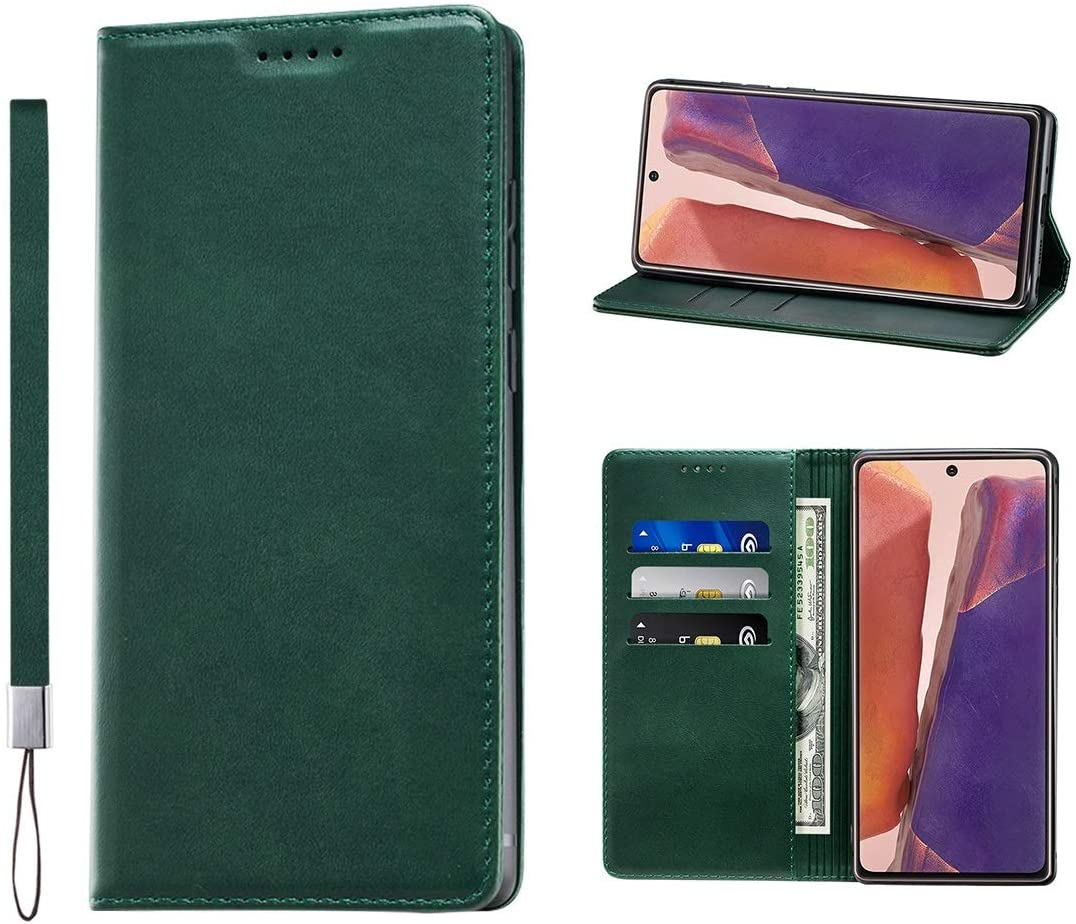 Huping Samsung Note 20 Ultra Case, Wallet Case Card Holder [with Wrist Strap] Leather Shockproof Flip Cover for Samsung Galaxy Note 20 Ultra - Green