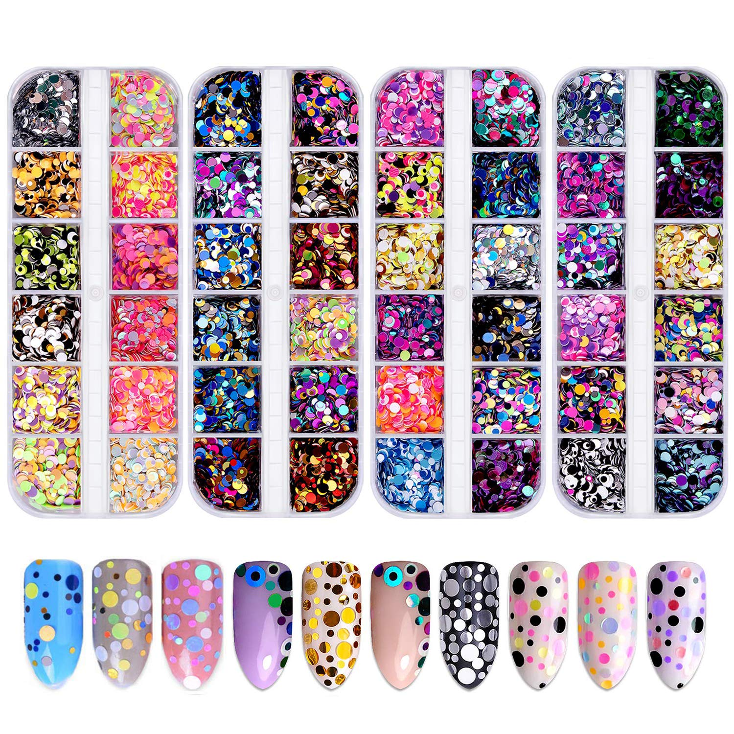 48 Colors Nail Sequins, FITDON Nail Art Flake Nail Glitter Paillette Mixed Round Thin Shining 3D Nail Art Stickers Manicure Make Up DIY Decals Decoration